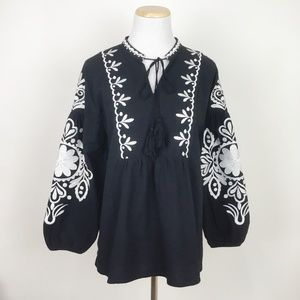 VELZERA Heavily Embroidered Peasant Top Mexican